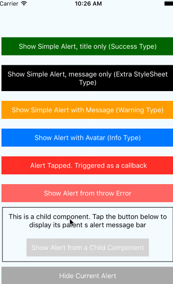 Message Bar Notification Component For React Native