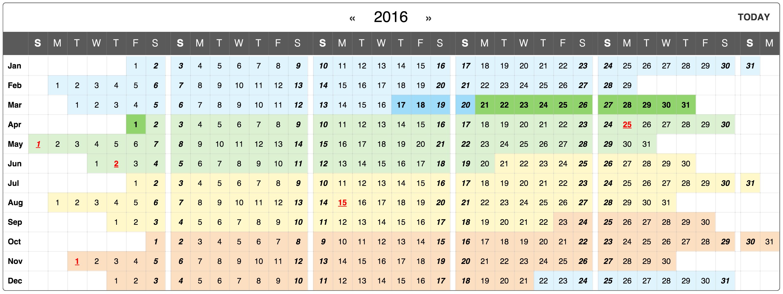 React Yearly Calendar Component