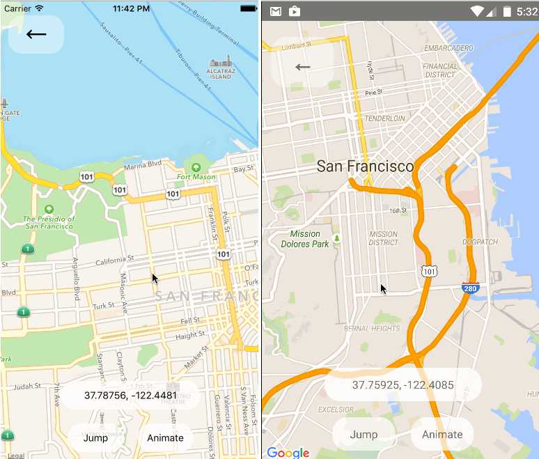 React Native Map Components For iOS and Android