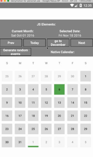 React Native Material Calendar
