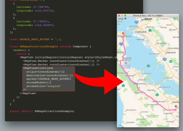 Directions Component For React Native Maps