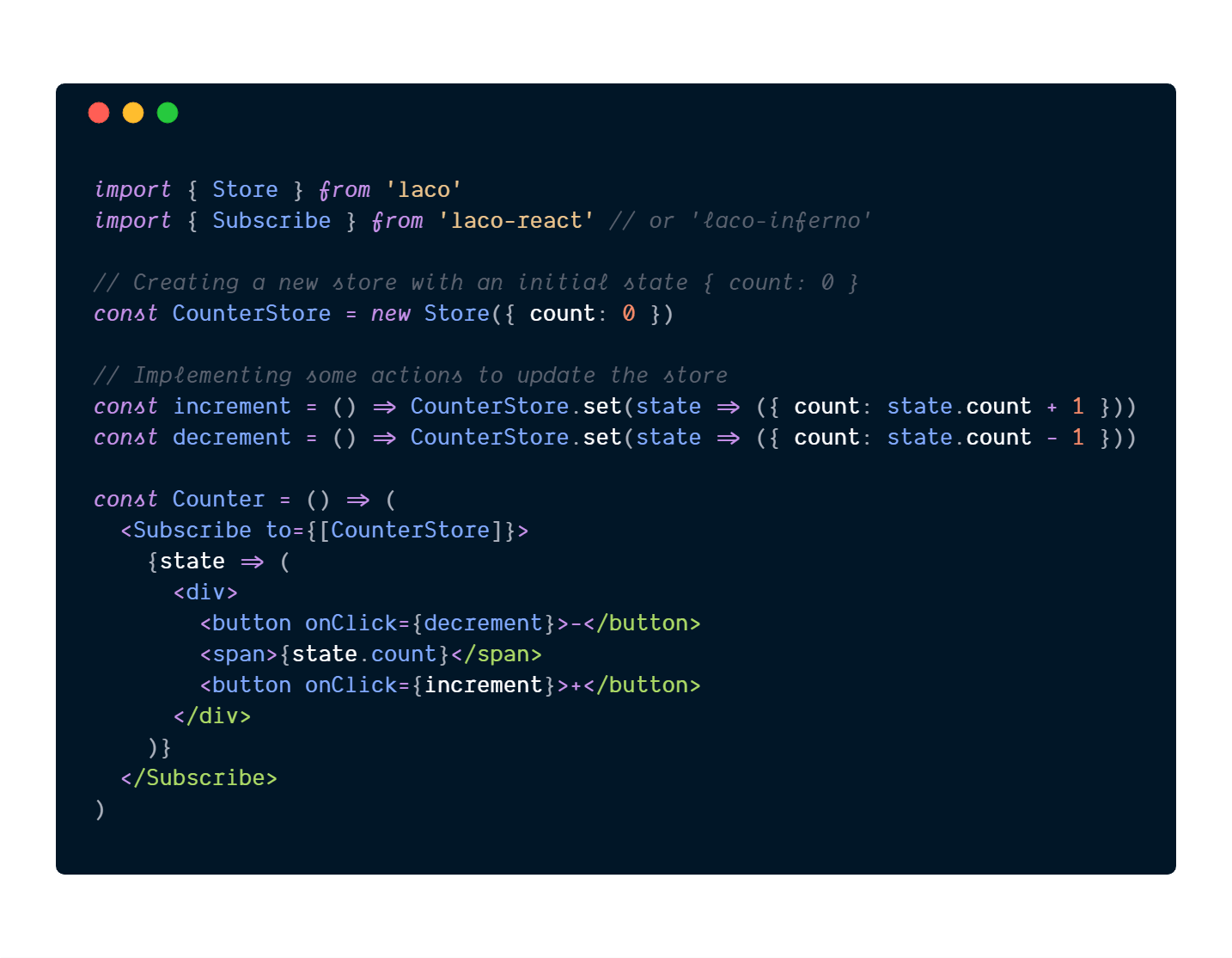 Lightweight State Management For React - laco-min