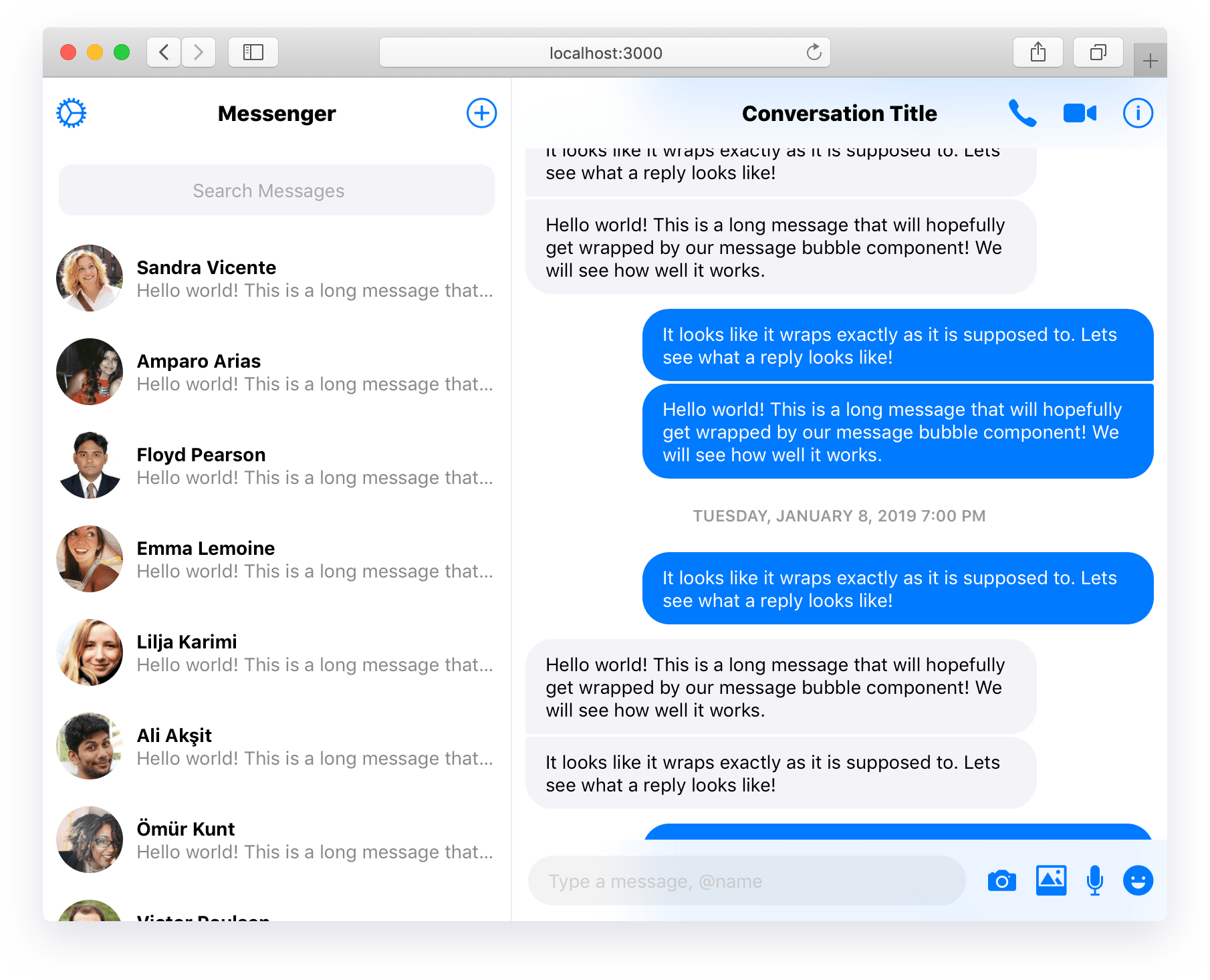 Messenger Style Chat UX Components - react-messenger