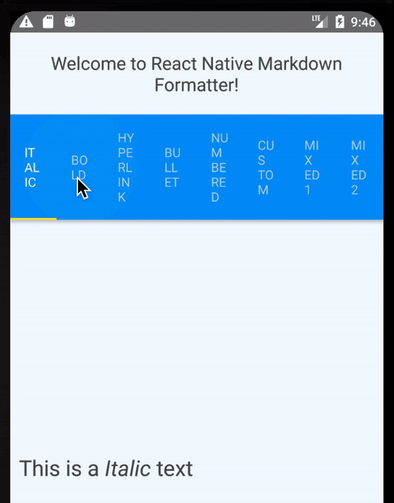 React Native Markdown Formatter
